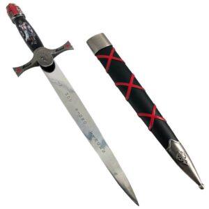 Dague Médiévale Templière noire en métal argenté