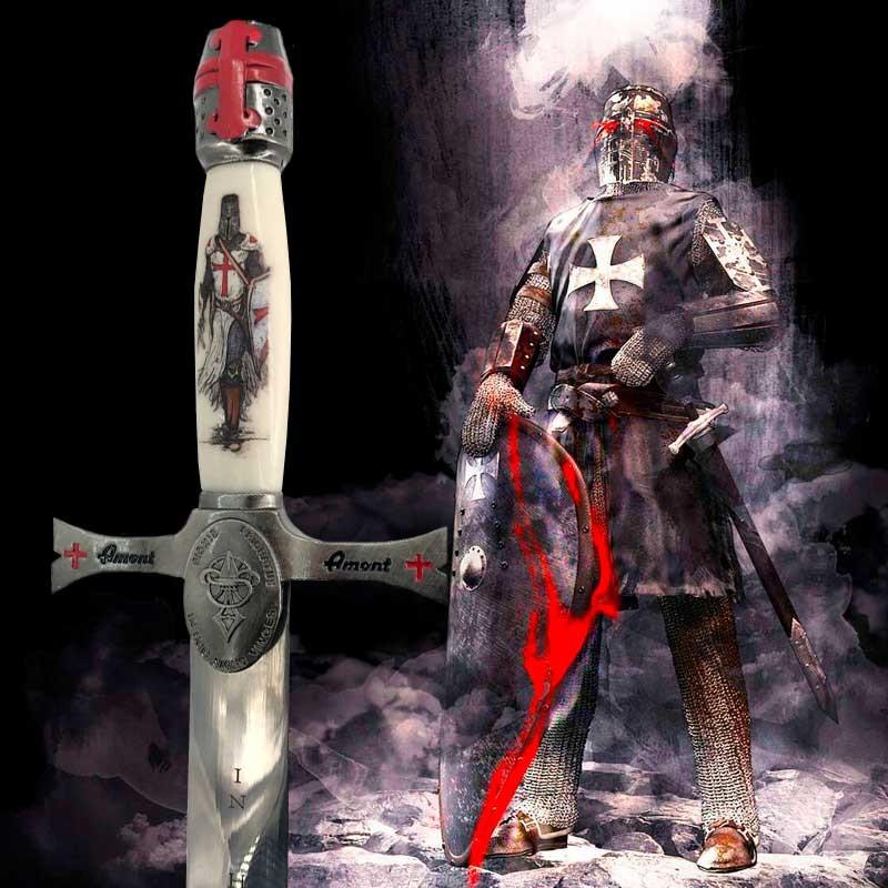 Dague Médiévale Templière blanche en métal argenté